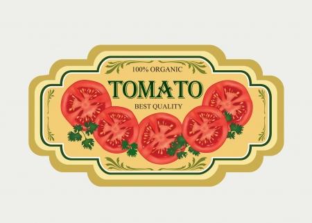 sauce tomate: Tomate �tiquette autocollant R�tro