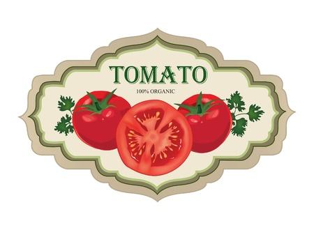 Tomato label  Retro sticker   Vector