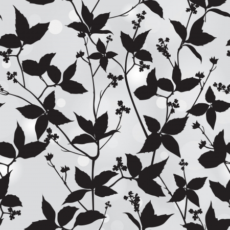 negro: Rama y hoja silueta de fondo vector patrón floral sin fisuras Vectores