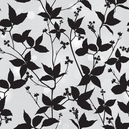 schwarz: Zweig und Blatt Silhouette Floral nahtlose Hintergrund Vektor-Muster Illustration