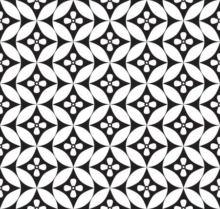 기하학적 추상 원활한 장식 패턴 흰색과 검은 색 배경 일러스트