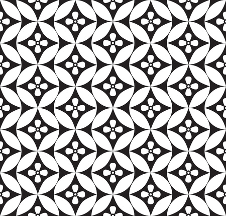 white with black: Abstract geometric seamless ornamental pattern  White and black background
