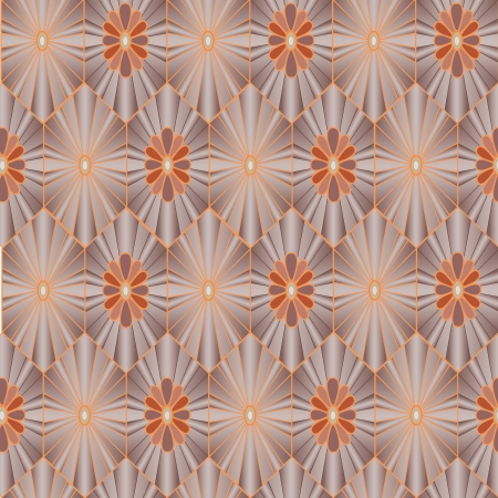 fantail: Abstract floral seamless ornamental pattern  Grey background  Illustration