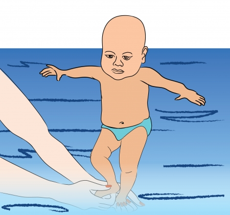active life: baby first swimming lesson wiht mother  Illustration