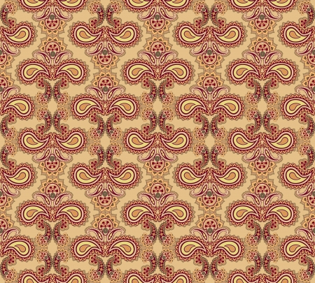 antic: Abstract floral seamless ornamental pattern  Beige background  Illustration