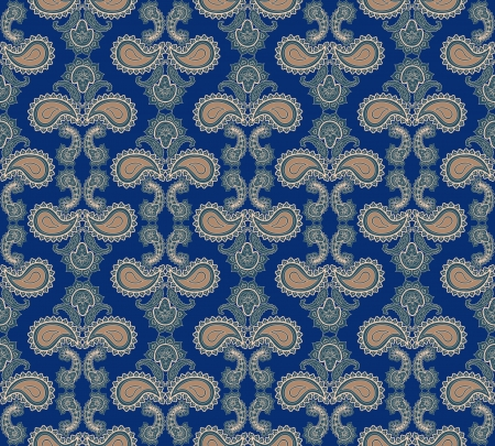 Abstract floral seamless ornamental pattern  Blue background  Vector