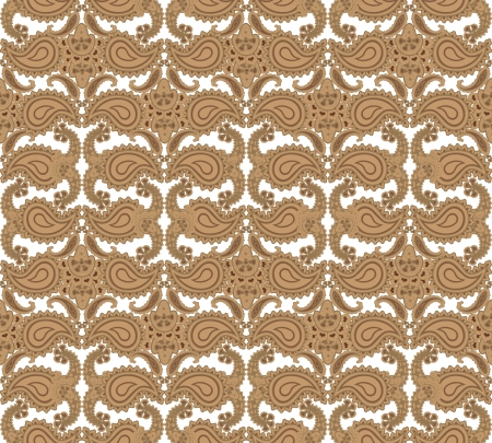 fantail: Abstract floral seamless ornamental pattern  Beige background  Illustration