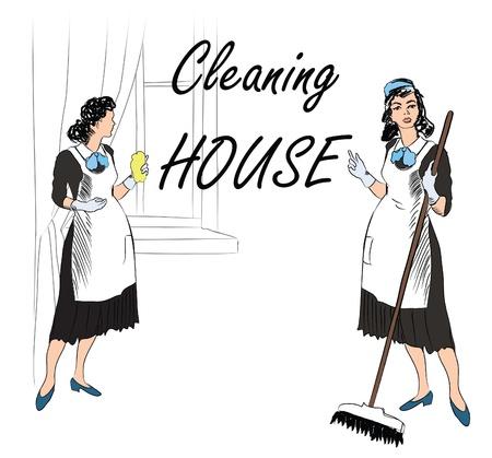 部屋を掃除、クリーニング サービス女性  イラスト・ベクター素材