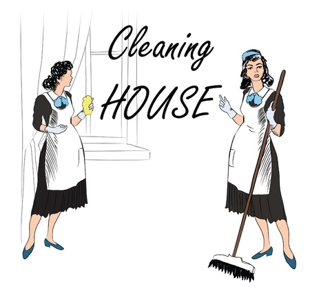 Cleaning service  Women, cleaning room   Vector