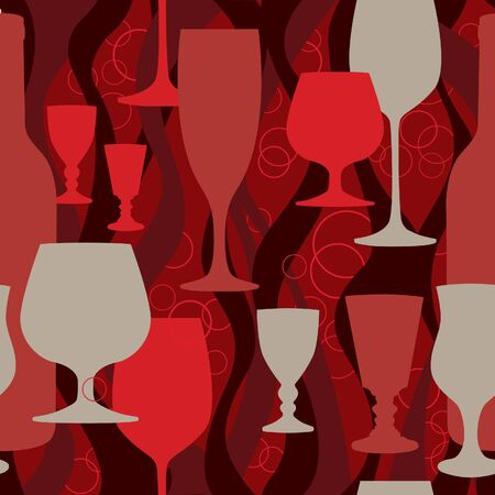 cocktail bar: Party cocktail seamless background  seamless pattern with glasses