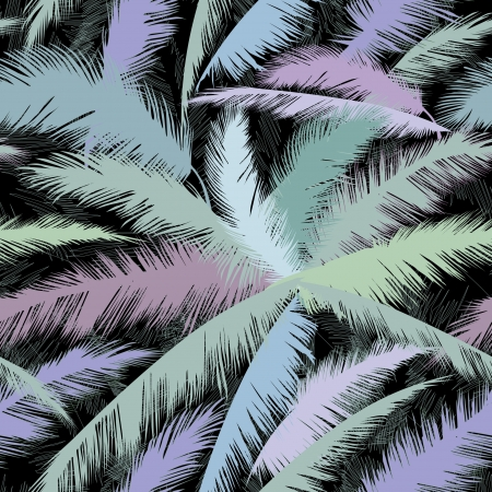 turquoise: Decorative abstract floral seamless pattern  Palm leaves seamless background