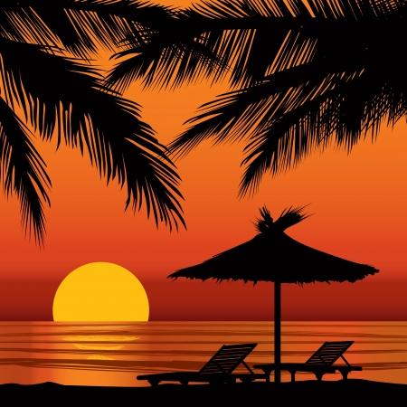 Zonsondergang in het strand met een palmboom Stock Illustratie