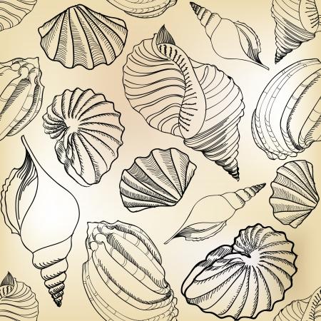 Sea shell seamless pattern  Sand beach seamless holiday background