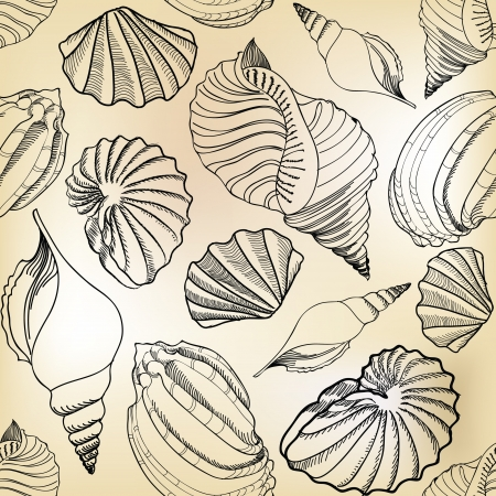 conch: Sea shell seamless pattern  Sand beach seamless holiday background