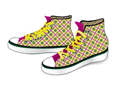 chaussure sport: Lier chaussure de sport de mod�le de tissu � carreaux isol� sur fond blanc Illustration