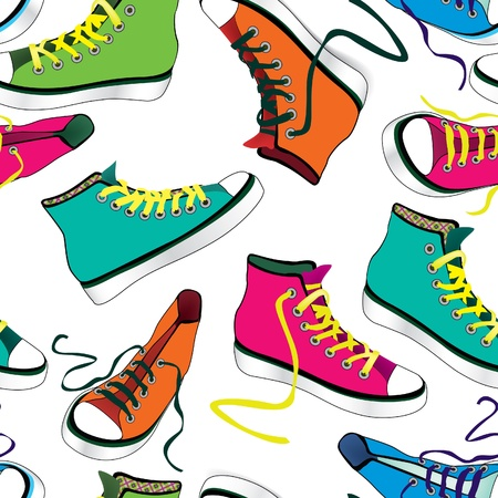 Colorful sport shoes seamless pattern