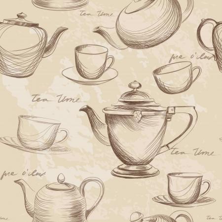 Tea time vintage seamless background  Retro kettle seamless pattern Stock Vector - 20441855