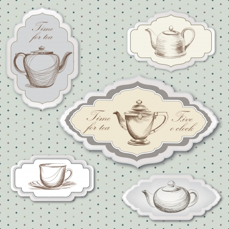차 컵과 주전자 빈티지 레이블은 레트로 카드 티 타임 빈티지 스티커 컬렉션입니다