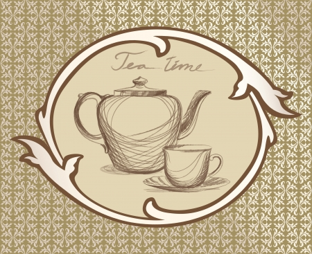 Tea time vintage label with kettle ans mug in victorian retro frame   Stock Vector - 20427615