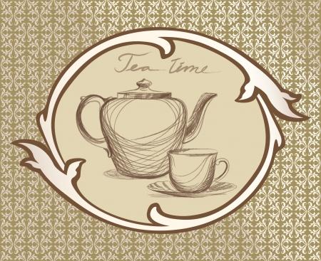 chinese tea pot: Tea time vintage label with kettle ans mug in victorian retro frame   Illustration