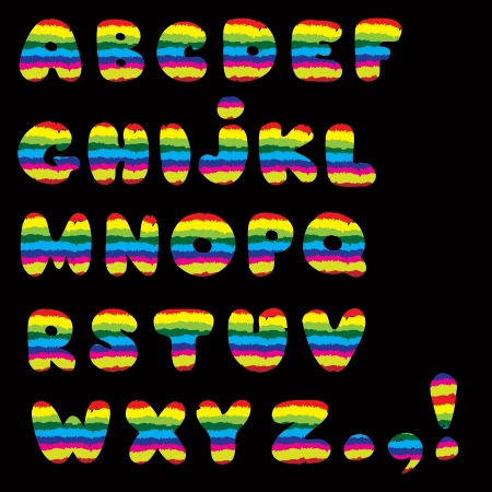 Paint brushed rainbow color ABC  Cartoon Vector Alphabet with All Letters  Vector