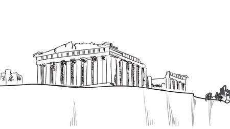 Acrópolis en Atenas Dibujado a mano histórico - Grecia boceto Partenón Ilustración de vector