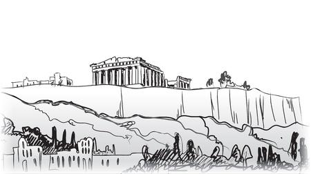 아테네 손으로 그린 랜드 마크 아크로 폴리스 언덕 - 고대 그리스 일러스트