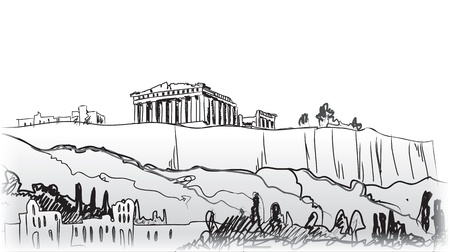Acropolis Hill in Athens Hand drawn landmark - ancient greece