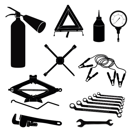 lavaliere: Auto service icons  Repair car on the road  Vector garage tools set