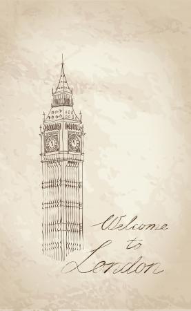 Big Ben, London, England, UK  Hand Drawn Illustration  Vector vintage background Stock Vector - 21291487