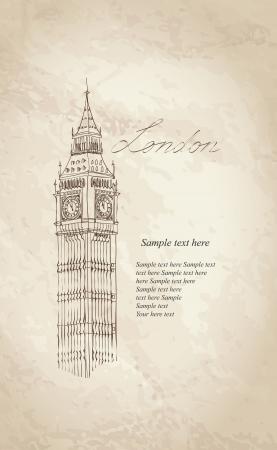 Big Ben, London, England, UK  Hand Drawn Illustration  Vector vintage background