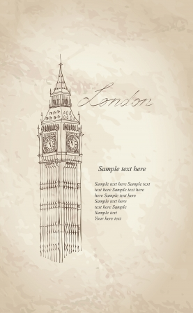 the palace of westminster: Big Ben, London, England, UK  Hand Drawn Illustration  Vector vintage background