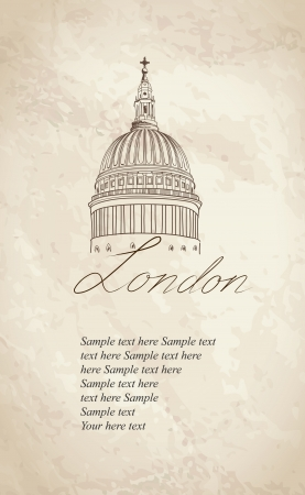 St  Paul Cathedral, London, UK  Hand Drawn Illustration  Vector vintage background   Vector