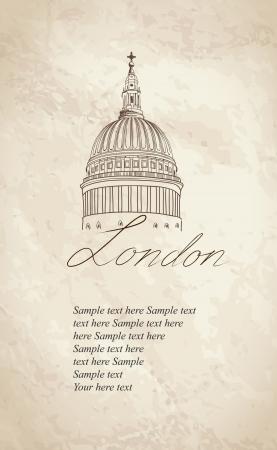 paul: St  Paul Cathedral, London, UK  Hand Drawn Illustration  Vector vintage background   Illustration
