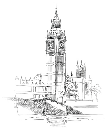 millennium bridge: Landscape of London  Big Ben Tower  Vector Hand-drawn Sketch Illustration