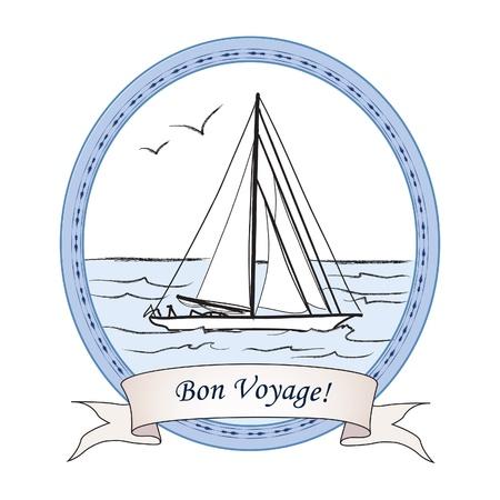 azul marino: Tarjeta de Yate del viaje del vintage de la etiqueta del océano con letras Bon Voyage Ilustración vectorial de boatb en el mar en estilo de dibujo de tinta retro