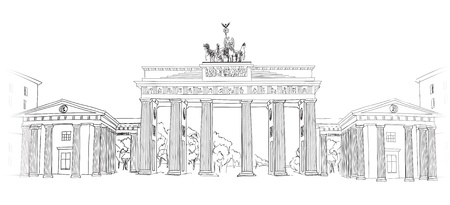 portones: La puerta de Brandeburgo en Berl�n de la mano l�piz dibujado ilustraci�n dibujo vectorial Puerta de Brandenburgo en Berl�n, Alemania Vectores