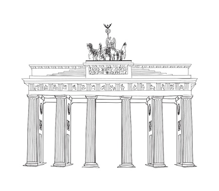 chariot: The Brandenburg gate  Berlin arch symbol  Hand drawn pencil sketch vector illustration isolated on white background