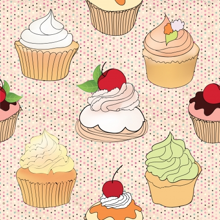 cake stand: Pastry seamless retro pattern  Muffin illustration in retro style over polka dot seamless background  Sweets vector set  Vintage cupcake background