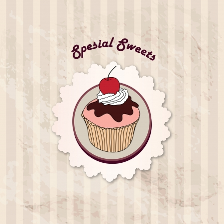 cake stand:  Gift card with pastry  Muffin on napkin in retro style over polka dot seamless pattern  Sweets vector set  Vintage cupcake background   Illustration