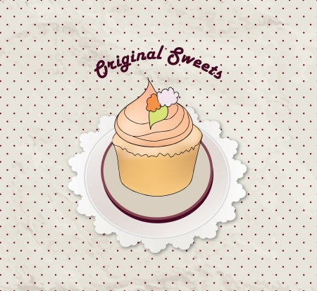 cake stand:  Gift card with pastry  Muffin on napkin in retro style over polka dot seamless pattern  Sweets set  Vintage cupcake background   Illustration
