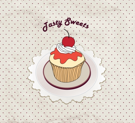 Gift card with pastry  Muffin on napkin in retro style over polka dot seamless pattern  Sweets set  Vintage cupcake background   Vector
