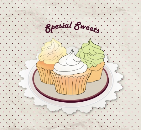 Sweets Set Vintage Cupcake Background Royalty Free Cliparts