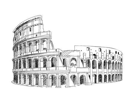 roma antigua: Coliseo en Roma, Italia Señal de Coliseum, dibujado a mano ilustración paisaje de la ciudad de Roma