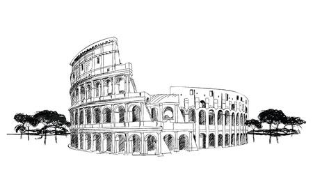 로마의 콜로세움, 콜로세움 이탈리아의 랜드 마크는, 손 그림 로마의 도시 풍경을 그려 일러스트
