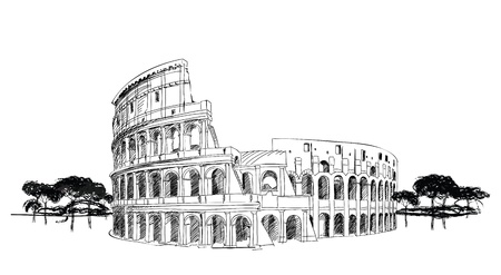 archaeology: Colosseum in Rome, Italy  Landmark of Coliseum, hand drawn illustration  Rome city landscape