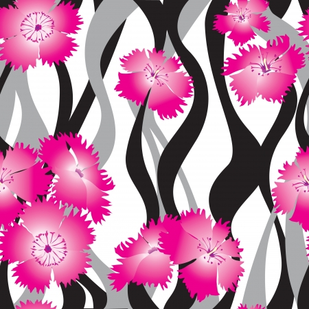 floral seamless background  Pink flower bouquets wavy pattern  floral seamless texture with Indian cress flowers  flower seamless background   Vector