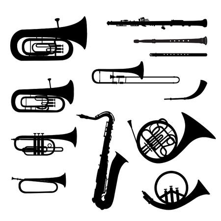 trompeta: Instrumentos musicales silueta vector conjunto de instrumentos musicales en el fondo blanco Vectores