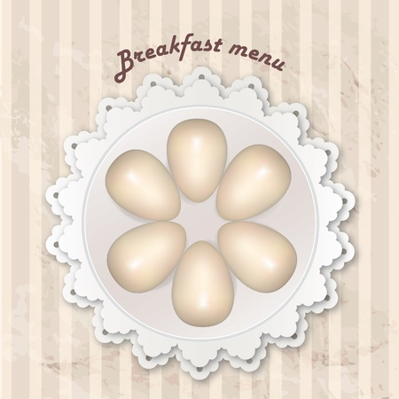 Gift card with eggs  Breakfast on napkin in retro style over polka dot striped seamless pattern  Vintage kitchen background   Vector