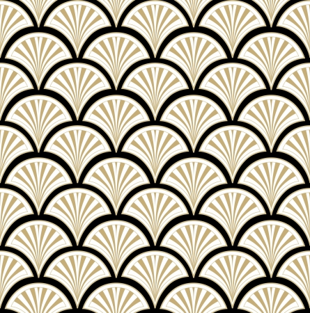 Abstract Geometric Retro Texture  Seamless pattern  Floral lightning ornament  Black and beige flower background  Vector